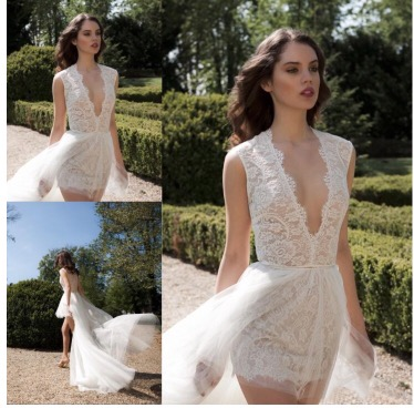 Elegant Lace Plunging V-Neck Asymmetry Beach Wedding Dress (12982817)